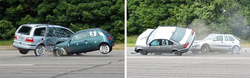 Above: Luke Jennings and David Hague conducting vehicle crash tests at the 2014 ITAI Crash Test Day